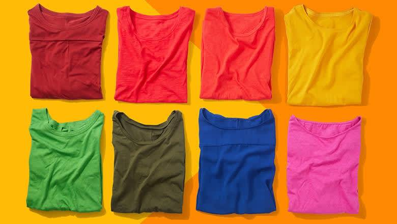 8 brightly coloured T-shirts on yellow-orange background